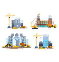 process building houses with help equipment vector image