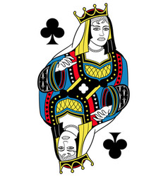 queen of clubs isolated french version vector image