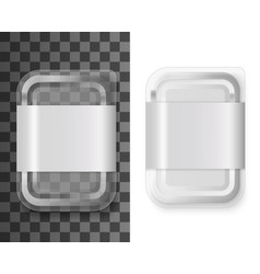 realistic plastic food container mockup with label vector image