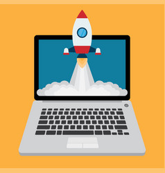 rocket flying up business project start up vector image