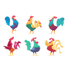 rooster cartoon chicken farm male birds vector image