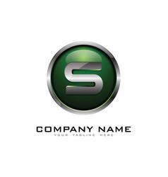 s 3d circle chrome letter logo icon design vector image