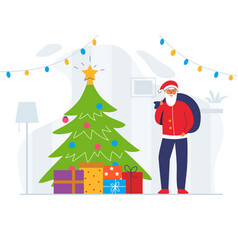 santa claus with gift bag and christmas tree vector image