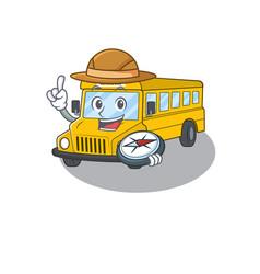 School bus experienced explorer using a compass vector