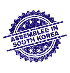 scratched textured assembled in south korea stamp vector image