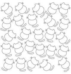 Seamless background cute kittens facing back vector