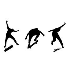 Set black skateboarder silhouettes vector