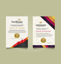 Set certificate template with stripes ornament vector