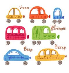 Set of cute childish hand drawn flat cars vector