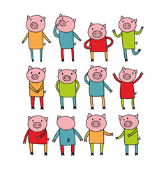 set of cute doodle pigs art vector image