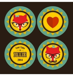 Set of sunny labels with hipster fox and heart vector image