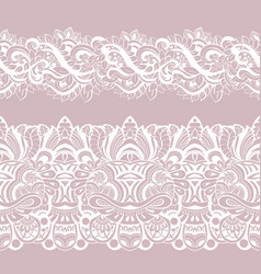 Set white laces seamless pattern border vector