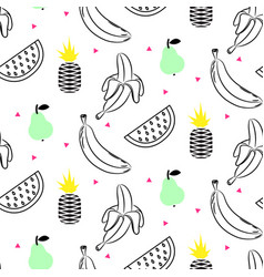 sketch line fruit salad seamless pattern vector image