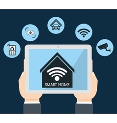 Smart home design tablet icon graphic vector