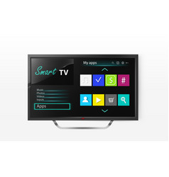 Smart tv menu on lcd screen vector