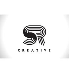 sr logo letter with black lines design line letter vector image