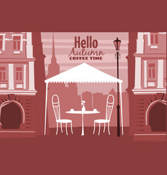 Street outdoor cafe in the old town coffee table vector