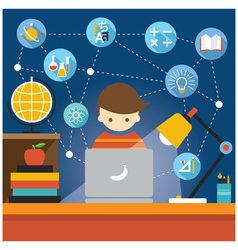 Student with laptop computer education icons vector