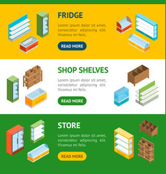 supermarket elements banner horizontal set vector image