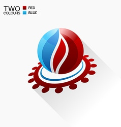 symbol fire Red and blue Round glass icon with vector image