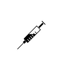syringe solid icon injection and vaccination vector image