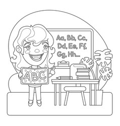 teacher coloring page vector image