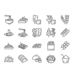 thai street food line icons vector image