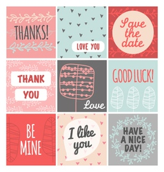 Thank you love you good luck vintage set vector image