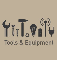 tools equipment brown set vector image