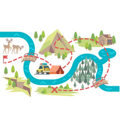 trail map tourists hiking footpath from start vector image