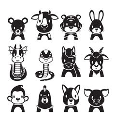 Twelve Animals Chinese Zodiac Signs Icons Set vector