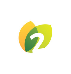 Two 2 number leaf overlapping color logo icon vector