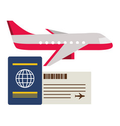 vacations airplane passport ticket vector image