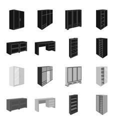 wardrobe with mirror wardrobe shelving with vector image