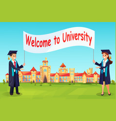 welcome to university charaters in gowns vector image