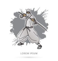 white ninja and sword vector image