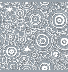 white seamless lace floral pattern on gray vector image