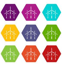 Wind generator turbines icon set color hexahedron vector