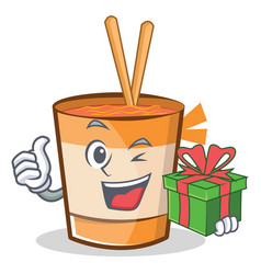 With gift cup noodles character cartoon vector