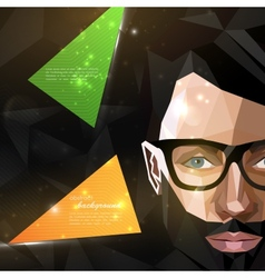 With man face in polygonal style modern poster vector