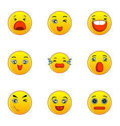 Yellow smileys icons set flat style vector