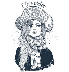 Young beautiful woman with mittens vector