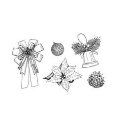 christmas icons hand drawn sketch set vector image