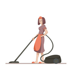 housekeeper or housewife makes home cleaning with vector image