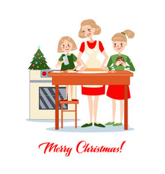 mother bakes traditional christmas cookies vector image vector image