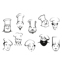Portraits of chefs or cooks in cartoon sketch vector image vector image