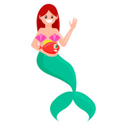 red hair mermaid with fish vector image
