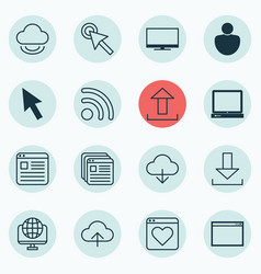 set of 16 web icons includes save data wifi vector image vector image