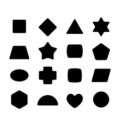 Set of geometric rounded kid toys shapes Black on vector image vector image