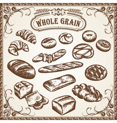 bakery set whole grain vector image vector image
